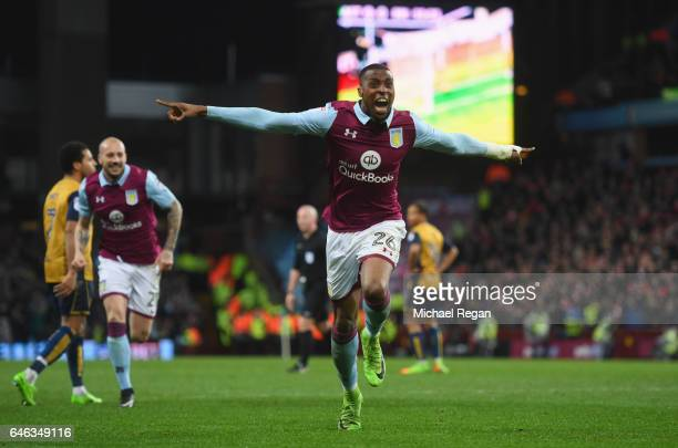 Jonathan Kodja of Aston Villa celebrates as he scores their first goal during the Sky Bet Championship match between Aston Villa and Bristol City at...