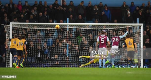 Jonathan Kodja of Aston Villa hits the crossbar as he misses a penalty kick during the Sky Bet Championship match between Aston Villa and Bristol...