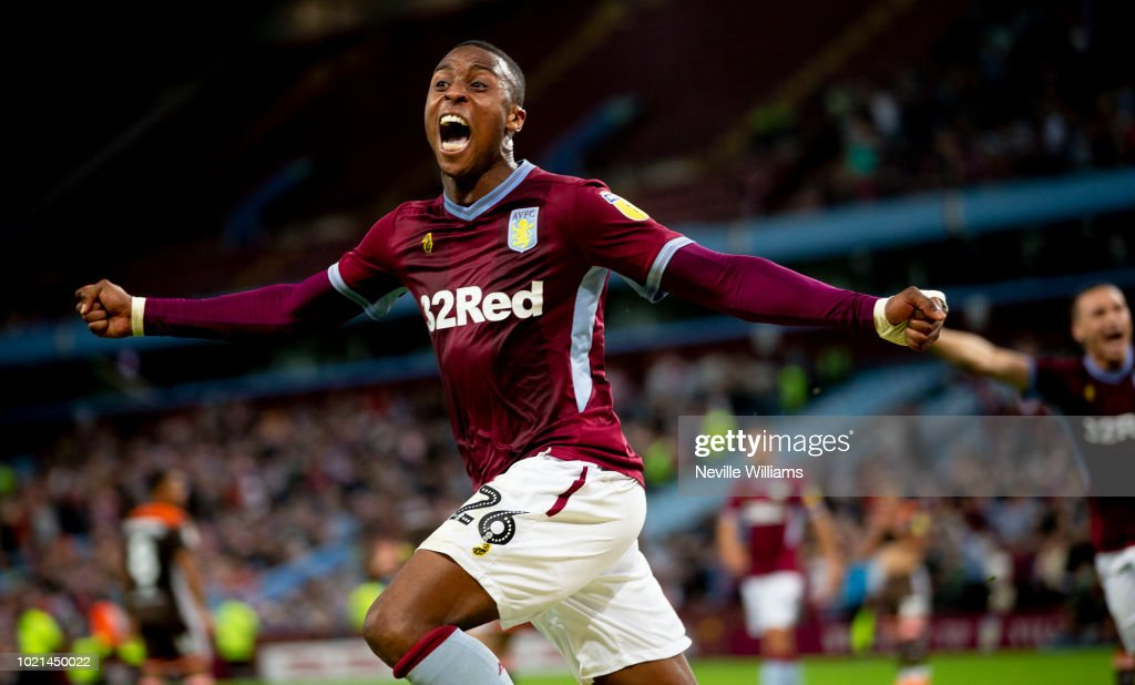 Jonathan Kodjia of Aston Villa celebrates after scoring a goal during the Sky Bet Championship match between Aston Villa and Brentford at Villa Park on August 22, 2018 in Birmingham, England.