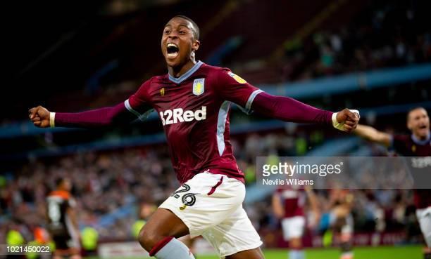 Jonathan Kodjia of Aston Villa celebrates after scoring a goal during the Sky Bet Championship match between Aston Villa and Brentford at Villa Park...