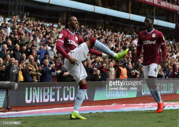 Jonathan Kodjia of Aston Villa celebrates after scoring a goal to make it 11 during the Sky Bet Championship match between Aston Villa and Norwich...