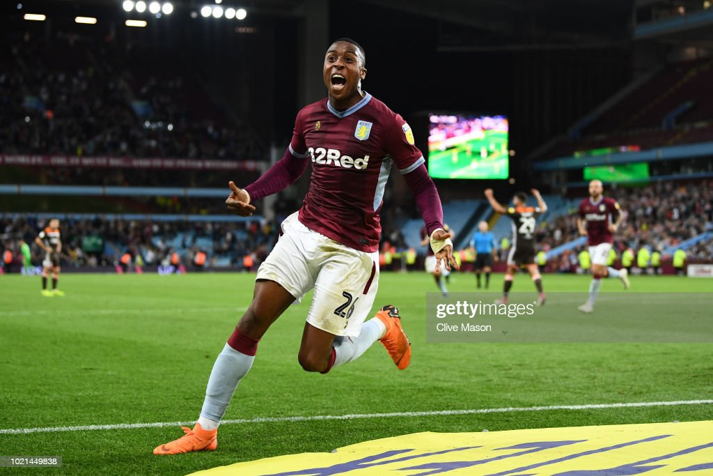 Jonathan Kodjia of Aston Villa celebrates after scoring his team's second goal during the Sky Bet Championship match between Aston Villa and Brentford at Villa Park on August 22, 2018 in Birmingham, England.