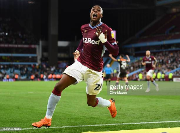 Jonathan Kodjia of Aston Villa celebrates after scoring his team's second goal during the Sky Bet Championship match between Aston Villa and...