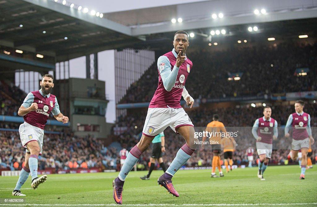 Jonathan Kodjia of Aston Villa celebrates after scoring the opener during the Sky Bet Championship match between Aston Villa and Wolverhampton Wanderers at Villa Park on October 15, 2016 in Birmingham, England