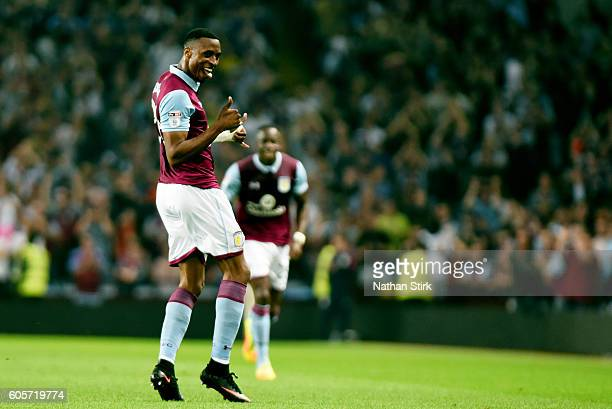 Jonathan Kodjia of Aston Villa celebrates after scoring the opening goal during the Sky Bet Championship match between Aston Villa and Brentford at...