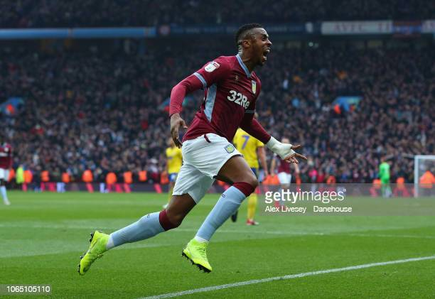 Jonathan Kodjia of Aston Villa celebrates after scoring their first goal during the Sky Bet Championship match between Aston Villa and Birmingham...