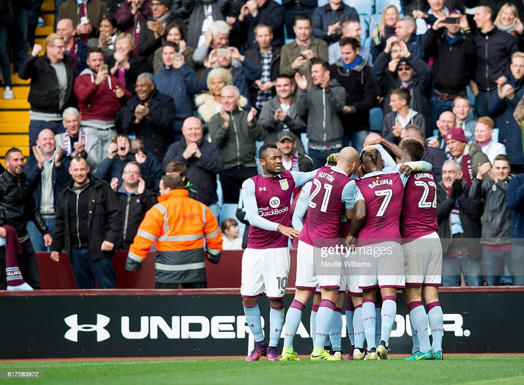 Jonathan Kodjia of Aston Villa celebrates his goal for Aston Villa during the match the Sky Bet Championship match between Aston Villa and Fulham at Villa Park on October 22, 2016 in Birmingham, England.