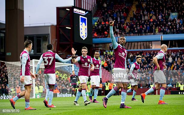 Jonathan Kodjia of Aston Villa celebrates his goal for Aston Villa during the Sky Bet Championship match between Aston Villa and Cardiff City at...