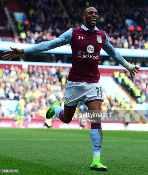 Jonathan Kodjia of Aston Villa celebrates his sides first goal during the Sky Bet Championship match between Aston Villa and Norwich City at Villa...