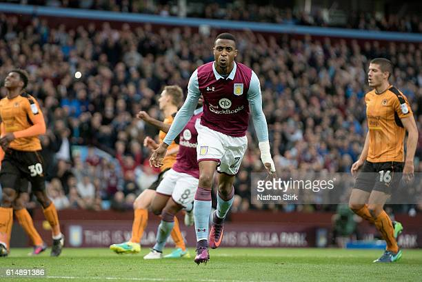Jonathan Kodjia of Aston Villa celebrates scoring the opening goal during the Sky Bet Championship match between Aston Villa and Wolverhampton...