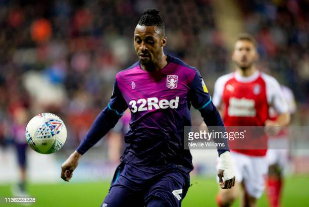 Jonathan Kodjia of Aston Villa during the Sky Bet Championship match between Rotherham United and Aston Villa at the New York Stadium on April 10...