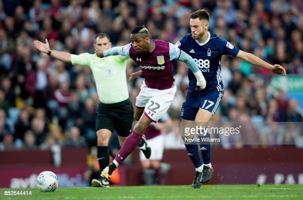 Jonathan Kodjia of Aston Villa during the Sky Bet Championship match between Aston Villa and Nottingham Forest at Villa Park on September 23 2017 in...