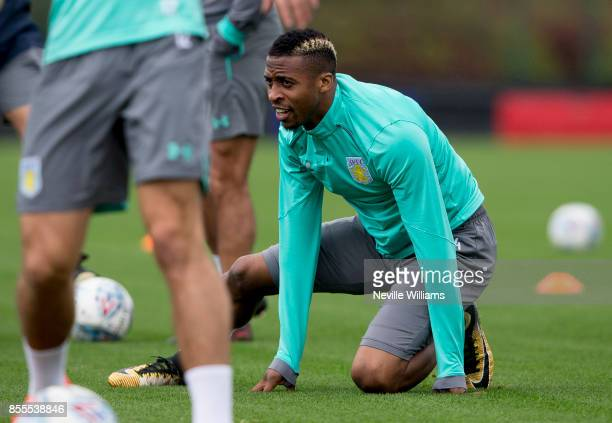 Jonathan Kodjia of Aston Villa in action during a Aston Villa training session at the club's training ground at Bodymoor Heath on September 29 2017...