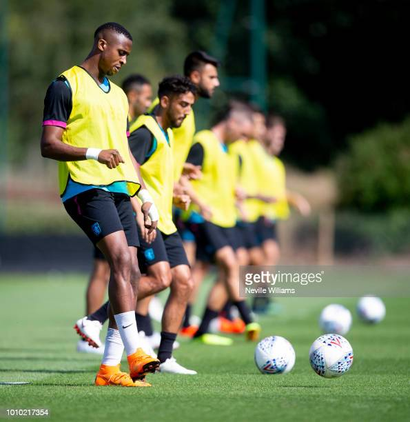 Jonathan Kodjia of Aston Villa in action during a training session at the club's training ground at Bodymoor Heath on August 03 2018 in Birmingham...