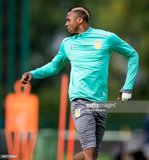 Jonathan Kodjia of Aston Villa in action during a training session at the club's training ground at Bodymoor Heath on September 08 2017 in Birmingham...