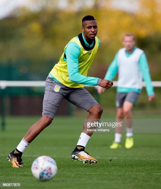 Jonathan Kodjia of Aston Villa in action during a training session at the club's training ground at Bodymoor Heath on October 13 2017 in Birmingham...
