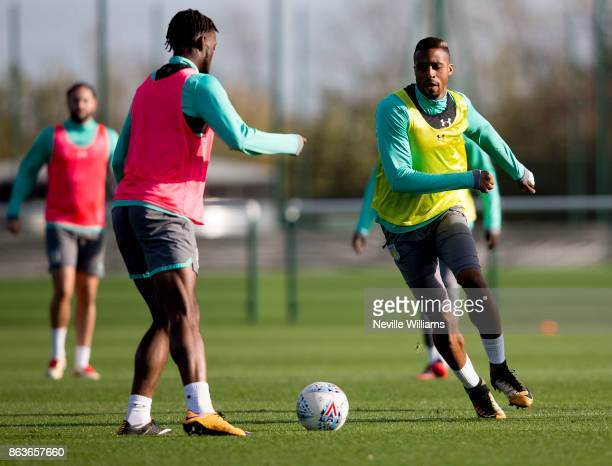 Jonathan Kodjia of Aston Villa in action during a training session at the club's training ground at Bodymoor Heath on October 20 2017 in Birmingham...