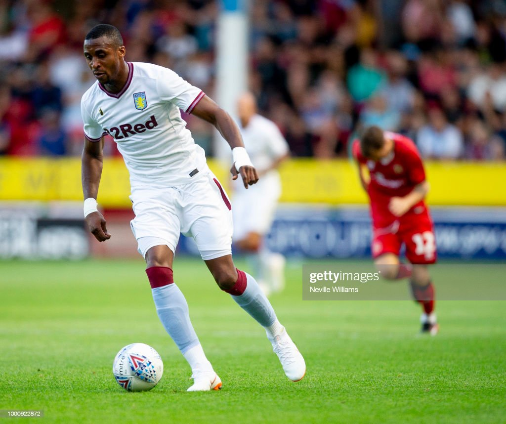 Jonathan Kodjia of Aston Villa in action during the Pre-Season Friendly match between Walsall and Aston Villa at the Bescot Stadium on July 17, 2018 in Walsall, England.