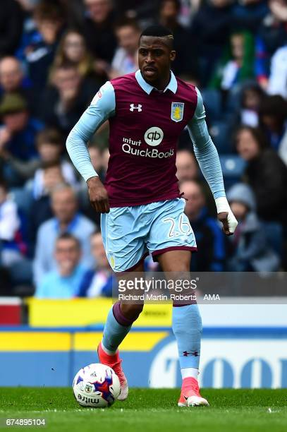 Jonathan Kodjia of Aston Villa in action during the Sky Bet Championship match between Blackburn Rovers and Aston Villa at Ewood Park on April 29...