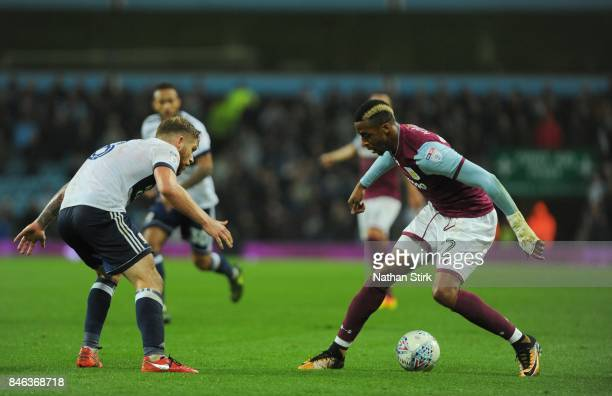 Jonathan Kodjia of Aston Villa in action during the Sky Bet Championship match between Aston Villa and Middlesbrough at Villa Park on September 12...