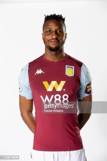 Jonathan Kodjia of Aston Villa poses for a portrait at Bodymoor Heath training ground on October 28, 2019 in Birmingham, England.