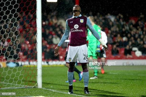 Jonathan Kodjia of Aston Villa reacts after a missed goal chance during the Sky Bet Championship match between Brentford and Aston Villa at Griffin...