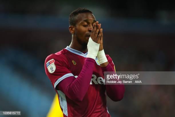 Jonathan Kodjia of Aston Villa reacts during the Sky Bet Championship match at Villa Park on September 18 2018 in Birmingham England