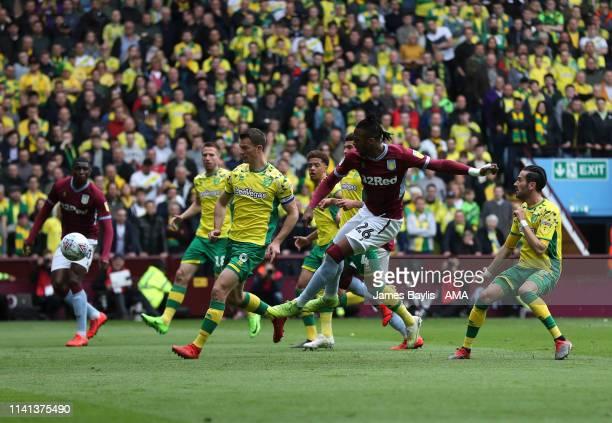 Jonathan Kodjia of Aston Villa scores a goal to make it 11 during the Sky Bet Championship match between Aston Villa and Norwich City at Villa Park...