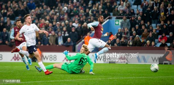 Jonathan Kodjia of Aston Villa scores for Aston Villa during the Carabao Cup Quarter Final match between Aston Villa and Liverpool FC at Villa Park...