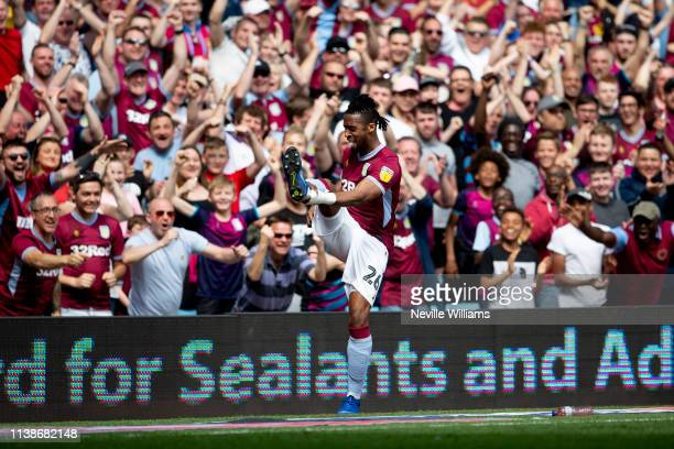 Jonathan Kodjia of Aston Villa scores for Aston Villa during the Sky Bet Championship match between Aston Villa and Millwall at Villa Park on April...