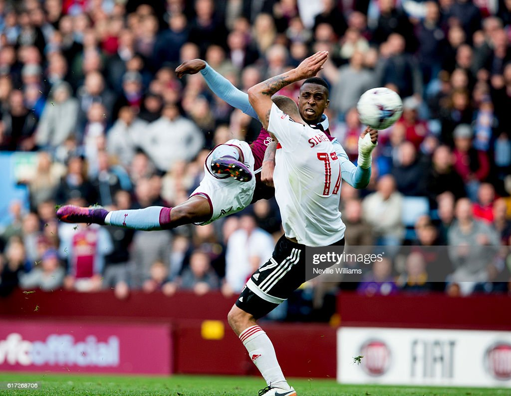 Jonathan Kodjia of Aston Villa scores for Aston Villa during the Sky Bet Championship match between Aston Villa and Fulham at Villa Park on October 22, 2016 in Birmingham, England.