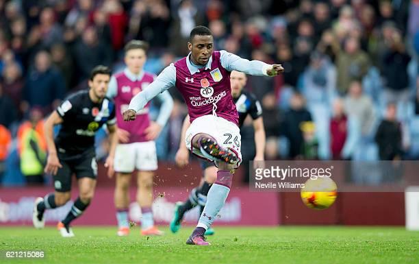 Jonathan Kodjia of Aston Villa scores for Aston Villa during the Sky Bet Championship match between Aston Villa and Blackburn Rovers at Villa Park on...