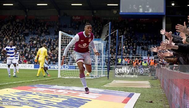Jonathan Kodjia of Aston Villa scores for Aston Villa during the Sky Bet Championship match between Queens Park Rangers and Aston Villa at Loftus...