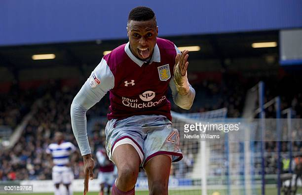 Jonathan Kodjia of Aston Villa scores for Aston Villa during the Sky Bet Championship match between Queens Park Rangers and Aston Villa at Loftus...