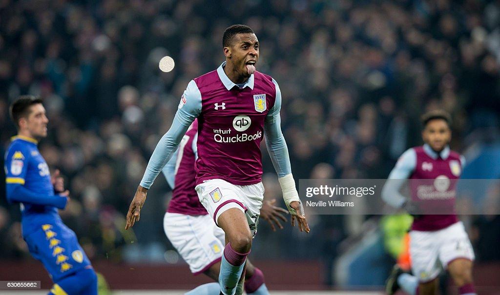 Jonathan Kodjia of Aston Villa scores for Aston Villa during the Sky Bet Championship match between Aston Villa and Leeds United at Villa Park on December 29, 2016 in Birmingham, England.