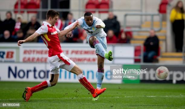 Jonathan Kodjia of Aston Villa scores for Aston Villa during the Sky Bet Championship match between Rotherham United and Aston Villa at the New York...