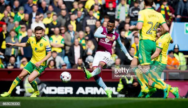 Jonathan Kodjia of Aston Villa scores for Aston Villa during the Sky Bet Championship match between Aston Villa and Norwich City at Villa Park on...