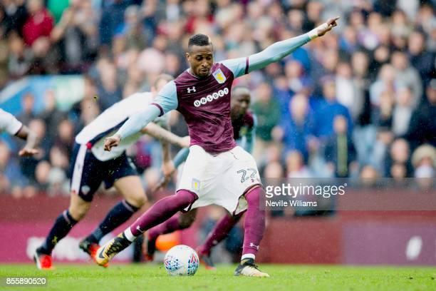 Jonathan Kodjia of Aston Villa scores from the penalty spot during the Sky Bet Championship match between Aston Villa and Bolton Wanderers at Villa...