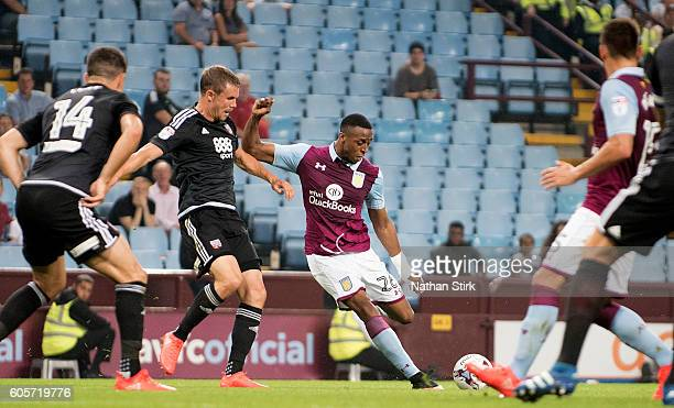 Jonathan Kodjia of Aston Villa scores the first goal during the Sky Bet Championship match between Aston Villa and Brentford at Villa Park on...