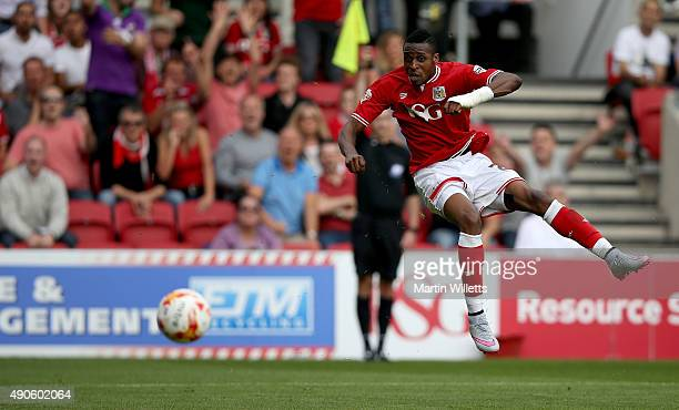 Jonathan Kodjia of Bristol City during the Sky Bet Championship match between Bristol City and Burnley at Ashton Gate on August 29 2015 in Bristol...