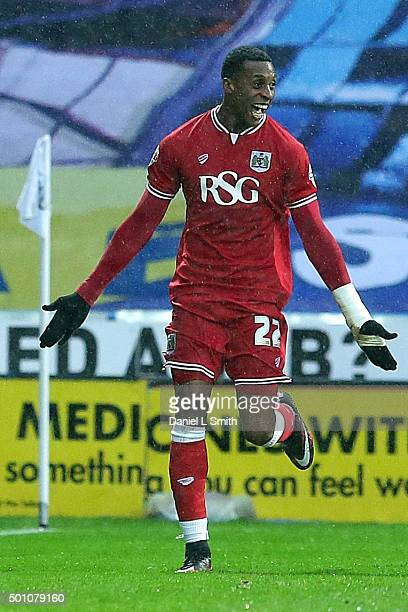 Jonathan Kodjia of Bristol City FC celebrates after scoring the opening goal during the Sky Bet Championship match between Huddersfield Town and...