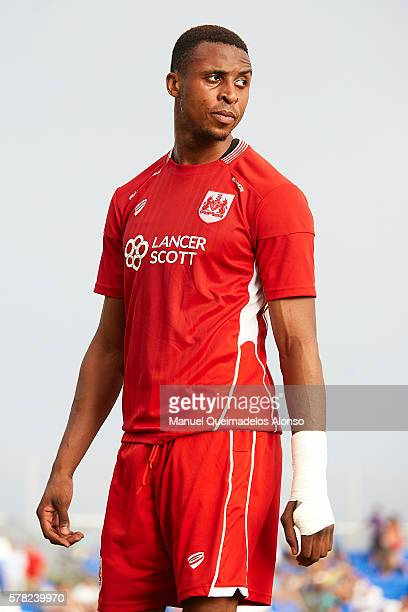 Jonathan Kodjia of Bristol City looks on during the friendly match between Granada CF and Bristol City at Pinatar Arena Stadium on July 20 2016 in...