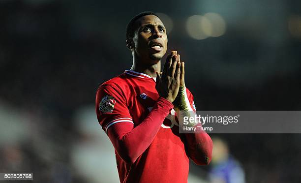 Jonathan Kodjia of Bristol City reacts during the Sky Bet Championship match between Bristol City and Charlton Athletic at Ashton Gate on December 26...