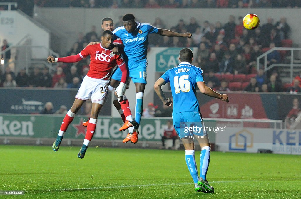 Jonathan Kodjia of Bristol City scores his sides first goal during the Sky Bet Championship match between Bristol City and Wolverhampton Wanderers at Ashton Gate on November 3, 2015 in Bristol, England.