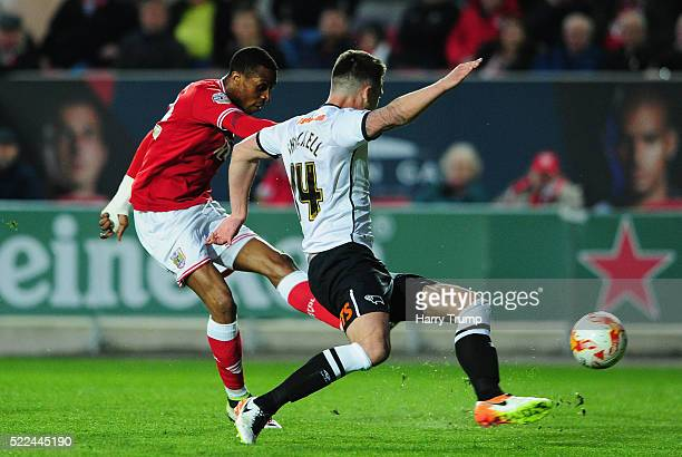 Jonathan Kodjia of Bristol City scores his sides first goal during the Sky Bet Championship match between Bristol City and Derby County on April 19...