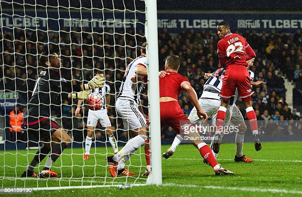 Jonathan Kodjia of Bristol City scores his team's first goal during the Emirates FA Cup Third Round match between West Bromwich Albion and Bristol...