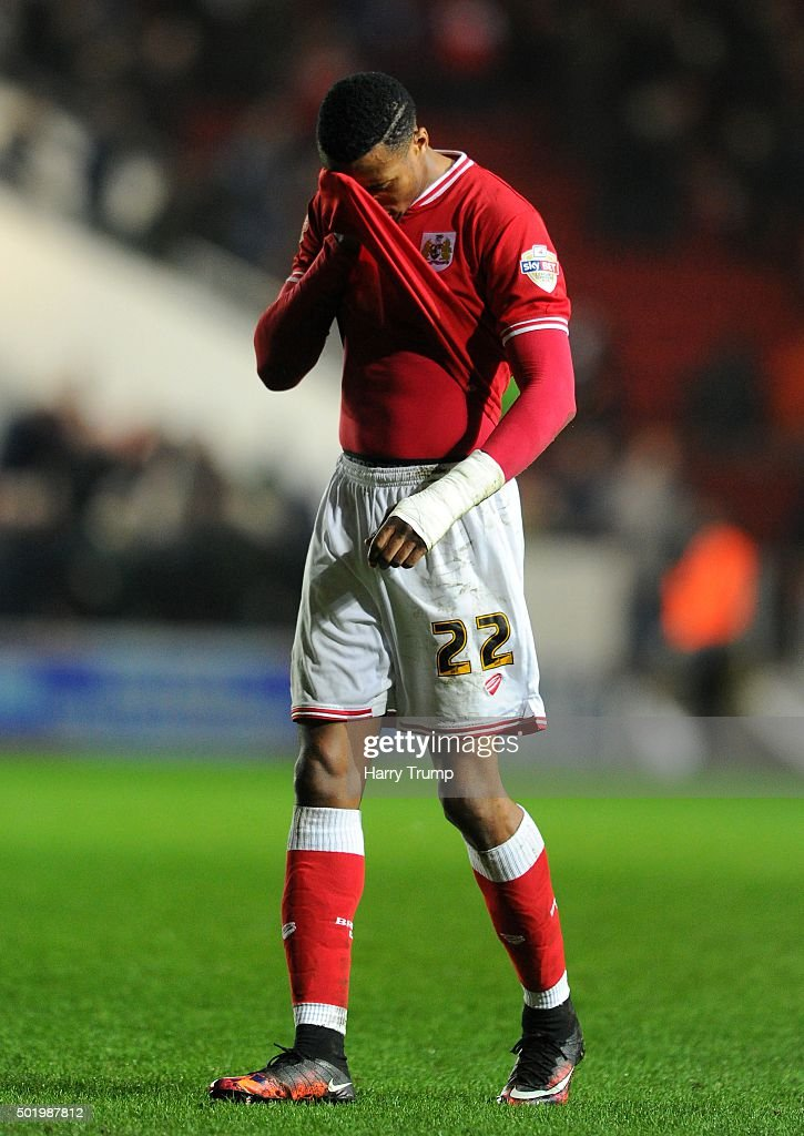 Jonathan Kodjia of Bristol City shows dejection at the final whistle during the Sky Bet Championship match between Bristol City and Queens Park Rangers at Ashton Gate on December 19, 2015 in Bristol, England.