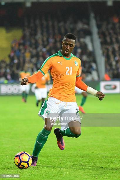 Jonathan Kodjia of Ivory Coast during the International friendly match between France and Ivory Coast at Stade BollaertDelelis on November 15 2016 in...