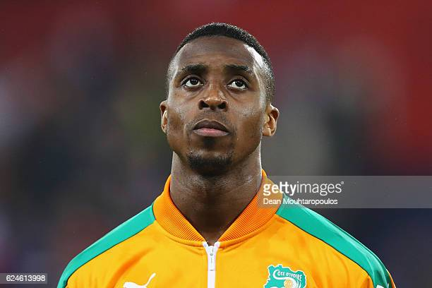Jonathan Kodjia of The Ivory Coast stands for the national anthem prior to the International Friendly match between France and Ivory Coast held at...