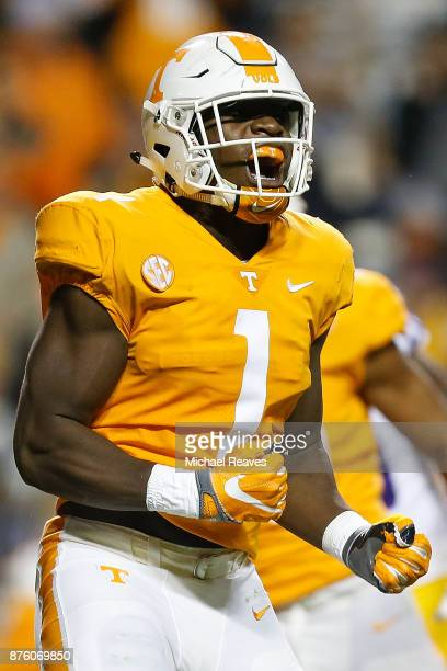 Jonathan Kongbo of the Tennessee Volunteers reacts against against the LSU Tigers during the first half at Neyland Stadium on November 18 2017 in...